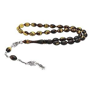 AQILA Gebetskette mit Tulpe an Quaste 925 Silber Handarbeit braun T44