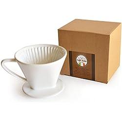 Caffé Italia - Filtro de café permanente, excelente aroma a café, filtro de café manual de cerámica, tamaño 2, para 2-3 tazas, alta calidad, color blanco