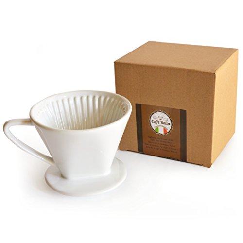 Permanent-Kaffee-Filter Caffé Italia - exzellenter aromareicher Kaffeegeschmack - Handfilter Kaffeefilter-Aufsatz Keramik - Größe 2 für 2-3 Tassen - weiß - Premium-Qualität