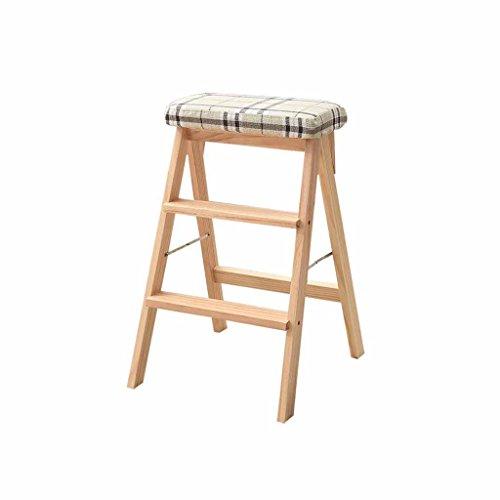 Pieghevole scaletta per uso domestico scaletta da cucina in legno 3 battistrada anti-scivolo a doppio uso mobile sconto tappetino antiscivolo con cuscino capacità 100 kg