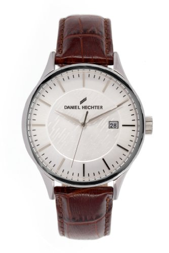 Daniel Hechter DHH 003/FU – Men's Watch – Quartz Analogue, Silver Dial, Brown Leather Strap