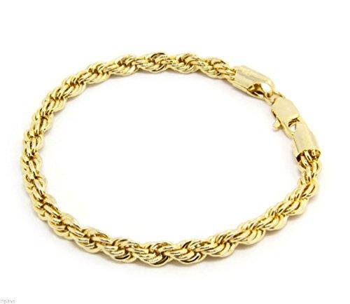 12JKINC TDmall Damen Fußkettchen vergoldet 6 mm funkelndes französisches Seil 20,3 cm