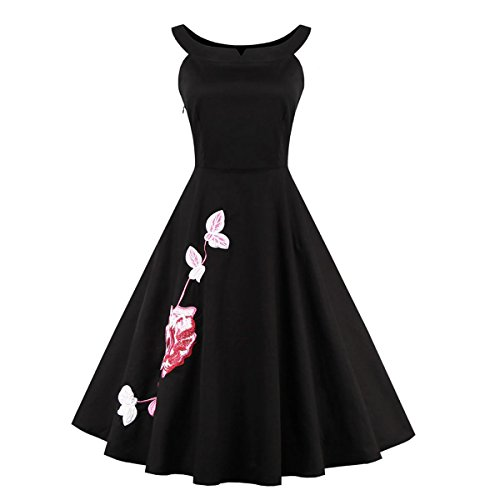 Dissa M131018D Robe de bal Vintage pin-up 50's Rockabilly robe de soirée cocktail,S-XXXXL Noir