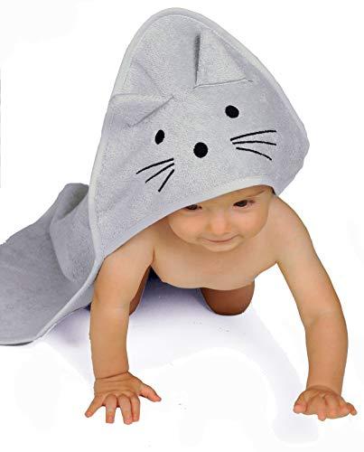 BabyCrate Kapuzenbadetuch Kätzchen 100% Bio-Baumwolle weich und dick - Premium-Qualität - Perfekt als Geschenk für Neugeborene, Säuglinge und Kleinkinder, 75x75 cm -