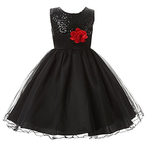 nzessin Kostüm Paillette Blume Hochzeit Bankett Party Kleid Blumen-Mädchen Kleid Brautjungfer Kleid 120 Schwarz (Schwarz Blumen Mädchen Kostüm)