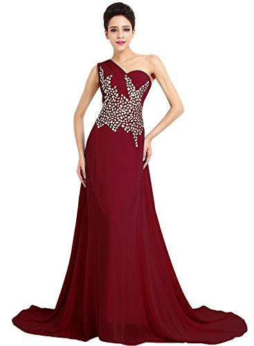 Azbro Women's One Shoulder Rhinestone Long Prom Dress Dark Red