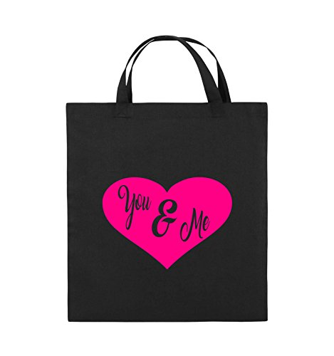 Comedy Bags - YOU & ME - HERZ NEGATIV - Jutebeutel - kurze Henkel - 38x42cm - Farbe: Schwarz / Pink Schwarz / Pink