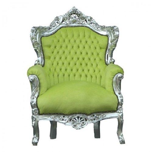 Barock Sessel Silber Jadegrün 85 x 85 x H. 120 cm Antik Stil Möbel