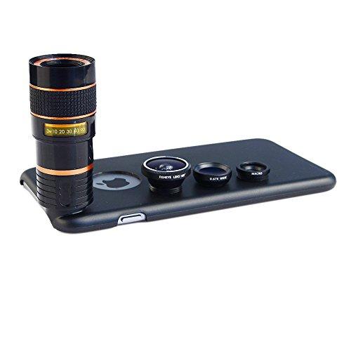 Apexel - Obiettivo grandangolo, Macro e teleobiettivo da 8X, con Cover per iPhone 6 Plus Nero
