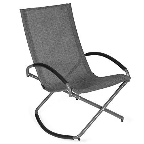 Park Alley Relaxsessel in anthrazit, klappbarer Liegestuhl mit Schaukelfunktion, Gartenstuhl für Garten, Terrasse oder Balkon, Klappstuhl für Strand und Camping Ausflüge -