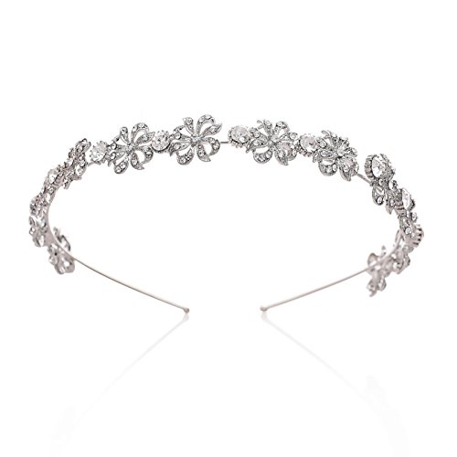 SWEETV Silber Strass Haarband Tiara Braut Hochzeit Haar Zubehör Blume Halo Strassbesatz für Frauen (Tiara-haar-zubehör)