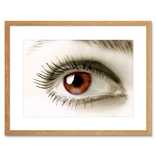 BROWN EYE HUMAN WOMAN GIRL ANATOMY BLACK FRAME FRAMED ART PRINT PICTURE B12X8462