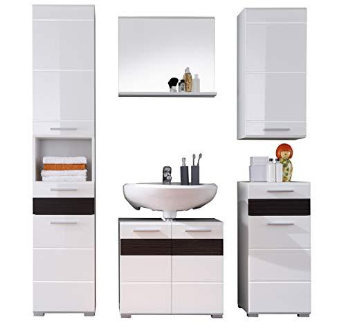 trendteam Badezimmer 5-teilige Set Kombination Mezzo, 160 x 182 x 34 cm in Weiß Hochglanz, Absetzung Eiche Melinga Rillenstruktur Dunkel (Nb.) mit viel Stauraum