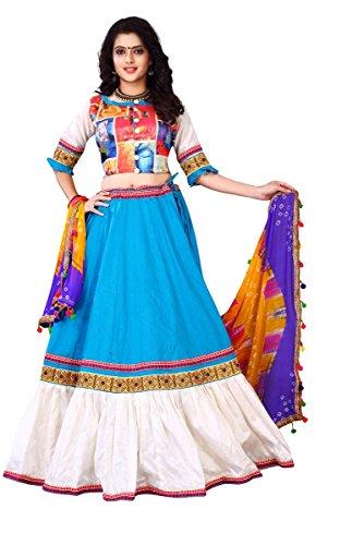 J B Fashion Women's Pure Cotton Blue color Lehenga Choli (537043)