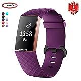 FunBand Correa para Fitbit Charge 3, Edición Especial Soft Silicona Deportes Recambio de Pulseras Ajustable Reemplazo Accesorios para Reloj Fitbit Charge 3 (1-Pack Púrpura)