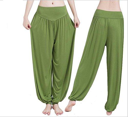 Mme coton doux sarouel Pilates yoga Sport Danse Vert Foncé