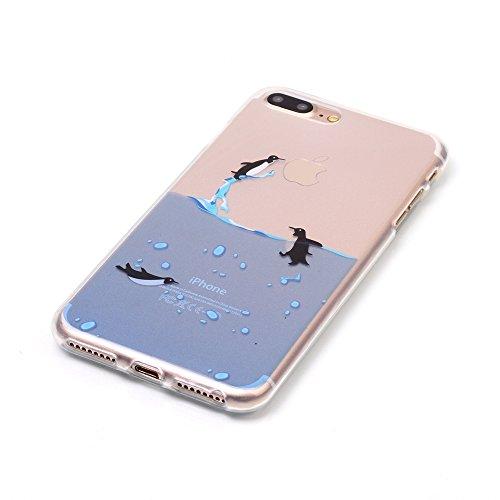 Voguecase® für Apple iPhone 7 4.7 hülle, Schutzhülle / Case / Cover / Hülle / TPU Gel Skin (macaron 03) + Gratis Universal Eingabestift Pinguine schwimmen