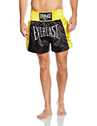 Everlast EM6 - Pantalón de thai boxing unisex, color negro / dorado, talla L