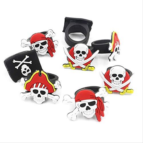 WSJDE 12 Stück Karibik Piraten Silikon Spielzeug Ringe Halloween Kostüm Kleid Up Kinder Geburtstag Party Cosplay Armband Skull Ring Kids - Party Stadt Katze Kostüm Kinder