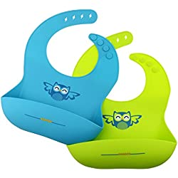 Philonext 2 Pack Babero de bebé del silicona, anti-bacterias impermeable, resistente y suave babero alimenticio de silicona para bebé niño o niña
