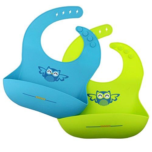 Philonext 2 Stück Silikon Baby Lätzchen, Wasserdicht & Bakterien beständig Soft Silikon Baby Lätzchen, Nahrungsmittelgradsilikon, Baby Lätzchen mit Food Catcher Tasche für Kleinkinder, Girls & Boys