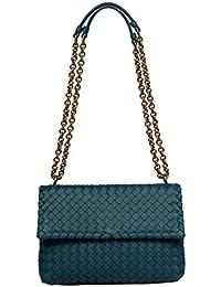 4f051c3a15 Bottega Veneta Women s 386498VO0AD4400 Blue Leather Shoulder Bag