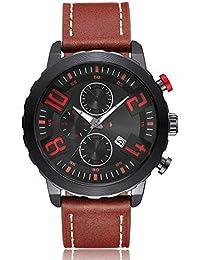 PAKITHEN Reloj de los Hombres de Cuarzo Reloj Deportivo de Ocio Reloj de Oro (marrón