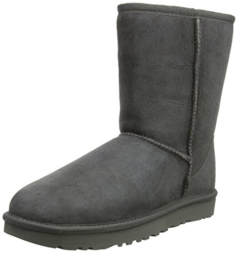 UGG W Classic Short, Damen Halbschaft Schlupfstiefel, Grau (GREY), 39 EU (6.5 Damen UK) (Womens Uggs Boots Bailey Bow)