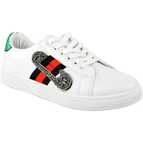 195284a913da8 Fashion Thirsty Womens Ladies White Flat Stripe Sneakers Trainers Designer Casual  Gym Shoes Size