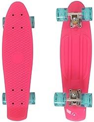 begorey Crucero estilo interesante Skateboard cubierta completa diversión al aire libre plástico multicolor Mini luz intermitente (rosa y azul)