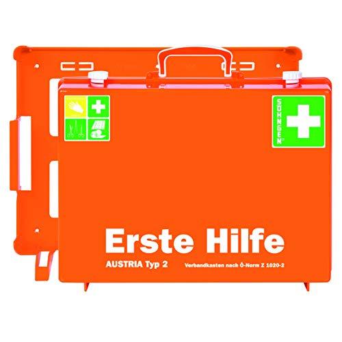 Söhngen Erste-Hilfe-Koffer AUSTRIA Typ 2 orange (Erste-Hilfe-Kasten; Unterteilung; Wandbefestigung; gefüllt; Wundverbände; SIRIUS Rettungsdecke; 20 Jahre sterile Verpackung) 0390155