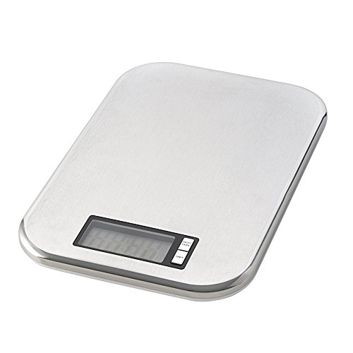 Digitale Küchenwaage Backwaage Deluxe, elektronisch, 5 kg /1 g Teilung, flach, Edelstahl, ca. 21 x 14.5 x 1.5 cm