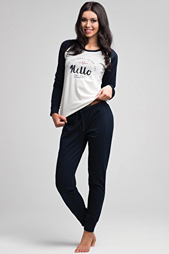 Rossli SAL-PY 1035 Ensemble De Pyjama Multicoloureux A Dessins Maxi Longeur Taille Normale Taille Collante Vetements De Nuit Tous Les Jours Feminin Bleu Marine