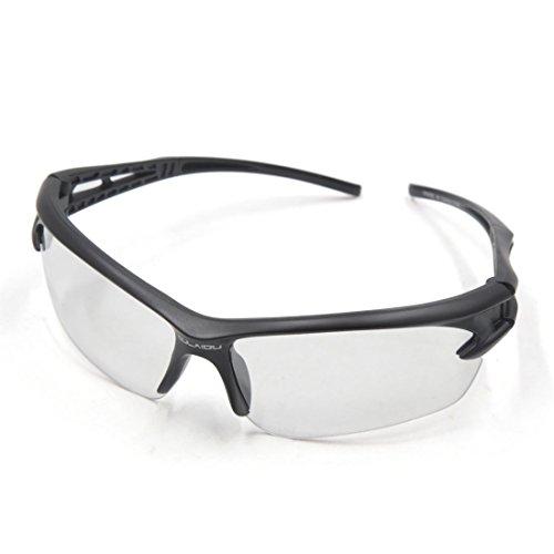 sourcing map Outdoor Sports Radfahren UV Schutz Sonnenbrille Klar Linse Schwarz Rahmen DE de
