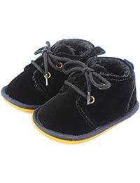 Lacofia Botas de invierno de suela de goma para bebés niños o niñas Zapatillas de deporte con cordones para bebé