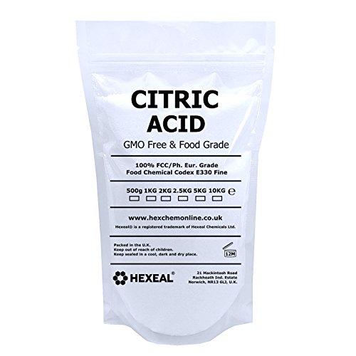 Hexeal Acide citrique   1kg Premium Étui   100% Anhydre   Fine   OGM Gratuit   BP/FCC Qualité Alimentaire