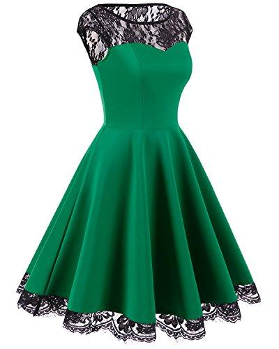 Homrain Damen 1950er Elegant Spitzenkleid Rundhals knielang festlich Cocktail Abendkleid Green