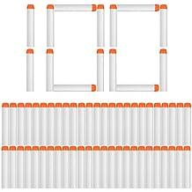 Foxom 100pcs Recargas Dardos Nerf, 7cm Espuma Suave, Fluorescencia Blanco, para NERF Juguettos