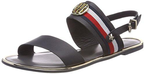 Tommy Hilfiger Damen Corporate Ribbon Flat Sandal Slingback, Blau (Midnight 403), 38 EU