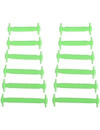 trmant 12pcs multifunción impermeable silicona elástica no tie cordones estilo de Deportes al aire libre para los niños, verde