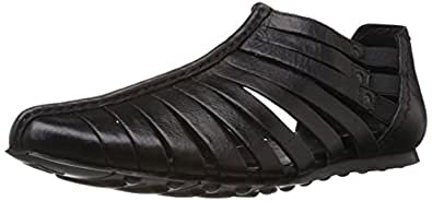 Franco Leone Men's Black Leather Sandals and Floaters - 7 UK/India (41 EU)