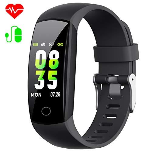 HETP Orologio Fitness Tracker Smartwatch per Uomo Donna【2019 W12】 Impermeabile IP67 Cardiofrequenzimetro e Pressione Sanguigna Contapassi Calorie Sportivo Smart Watch per iPhone Xiaomi Huawei Samsung