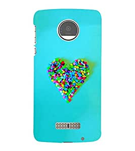 Takkloo Blue background ( Heart made of candy, colourful heart, love sign, Heart sign) Printed Designer Back Case Cover for Motorola Moto Z :: Motorola Moto Z Droid in USA