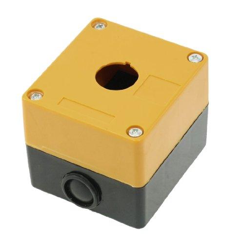 jaune-en-plastique-noir-22-mm-trou-1-interrupteur-bouton-poussoir-boite-de-station-de-controle