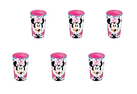 stor Minnie mouse, 0344, 6 Stück wieder verwendbarer Kunststoff-Gläser für Feste und Geburtstage