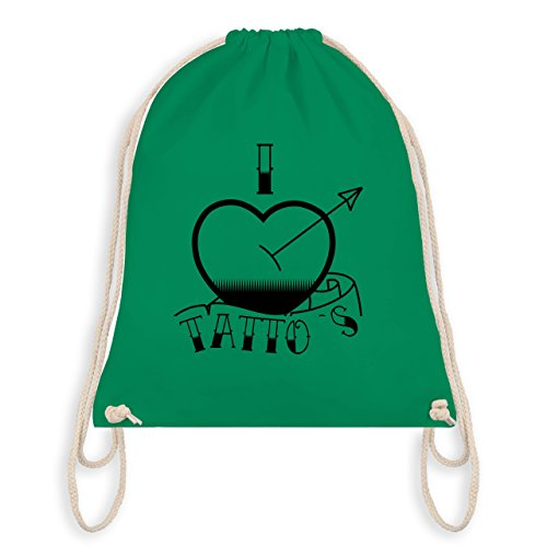 Shirtracer I love - I love Tattoos - Unisize - Grün - WM110 - Turnbeutel & Gym Bag
