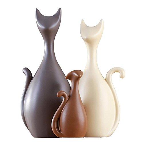 (WULAU Lovely Katzen Familie Keramik Ornamente, Moderne Art und Kreative Dekorative Elemente)