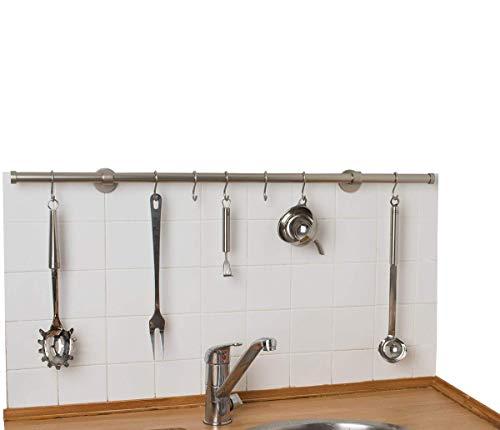 InCasa Porta Utensili da Cucina Ø 20 mm, L. 100 cm in Acciaio Satinato - con Ganci