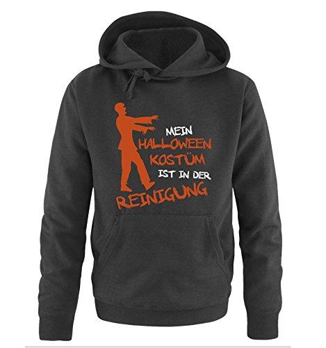 MEIN HALLOWEEN KOSTM IST IN DER REINIGUNG ZOMBIE - Herren Hoodie Schwarz / Weiss-Orange Gr. S Schwarz / Weiss-Orange (Halloween Schule Meister Der)