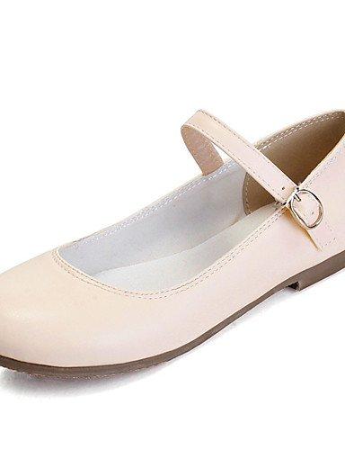 XAH@ Chaussures Femme-Extérieure / Habillé / Décontracté-Noir / Rose / Blanc / Amande-Talon Plat-Baby / Bout Arrondi-Plates-Similicuir pink-us6 / eu36 / uk4 / cn36